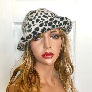 Accessories - Rabbit Hair Mix Leopard Print Cloche Hat